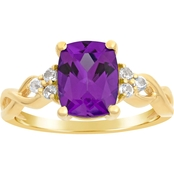 10K Yellow Gold Amethyst and White Topaz Ring, Size 7
