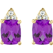 10K Yellow Gold Amethyst and White Topaz Earrings