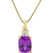 10K Yellow Gold Amethyst and White Topaz Pendant