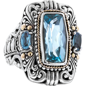 Robert Manse Designs Sterling Silver and 18K Yellow Gold Blue Topaz Scrollwork Ring