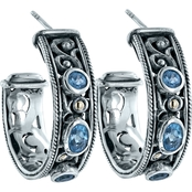 Robert Manse Designs Sterling Silver and 18K Yellow Gold Blue Topaz Hoop Earrings