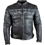 Vance Leathers Reflective Skull Premium Leather Motorcycle Jacket
