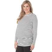 New Recruit Maternity Mock Neck Striped Top