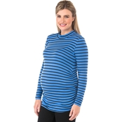 New Recruit Plus Size Maternity Mock Neck Striped Top