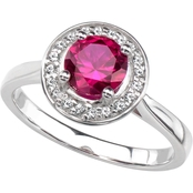 Sterling Silver Round Lab Created Ruby and White Sapphire Gemstone Halo Ring