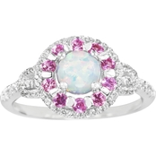 Sterling Silver Lab Created Opal, Pink Sapphire And White Sapphire Ring