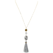 Panacea Grey Oval Stone and Tassel Pendant