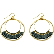 Panacea Grey Tassel Double Hoop Earrings