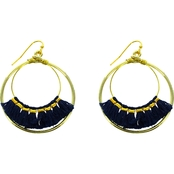 Panacea Cotton Tassel Double Hoop Earrings