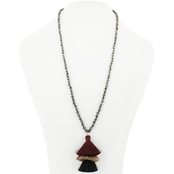 Panacea Burgundy Stacked Tassel Necklace 30 In. + 2 In. Extender