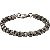 Stainless Steel Gunmetal Ion Plated Round Box Chain Bracelet