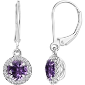 Sterling Silver Round Amethyst Halo Leverback Dangle Earrings