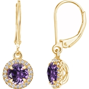 Sterling Silver 14K Yellow Gold Plated Round Amethyst Leverback Dangle Earrings