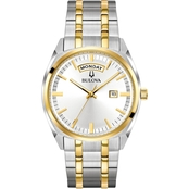 Bulova Men's Classic Two Tone Stainless Steel Bracelet Watch 39mm 98C127