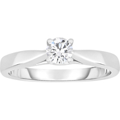 14K White Gold 1 Ct. Round Solitaire Ring, Size 7