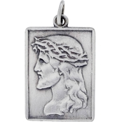 Sterling Silver Divino Hand Stamped Antique Finish Jesus Charm