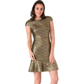 Michael Kors Petite Foil Knit Flounce Dress