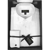 Michelsons Boxed Tux Shirt with Wing FC Collar Poplin Fabrication