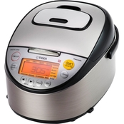 Tiger Stainless Steel 10 Cup Rice Cooker with Slow Cooker and Bread Maker