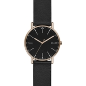 Skagen Men's Signature Black Leather 40mm Watch SKW6401