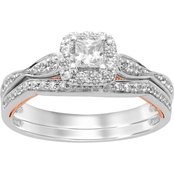 10K White & Rose Gold 1/2 CTW Diamond Bridal Set, Size 7
