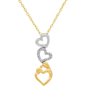 14K Yellow Gold Over Sterling Silver 3 Heart Diamond Accent Pendant
