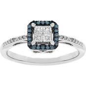 Sterling Silver 1/8 CTW Blue and White Diamond Ring