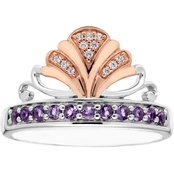 Disney Enchanted Silver Diamond & Amethyst Ariel Ring
