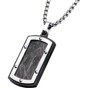 Stainless Steel Elegant with Black Plated Pendant, 24 In.