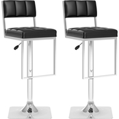 CorLiving Square Tufted Leatherette Adjustable Bar Stool 2 Pk.