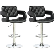 CorLiving Tufted Leatherette Adjustable Barstool with Armrests 2 Pk.