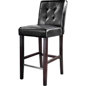 CorLiving Antonio Bar Height Stool in Tufted Bonded Leather