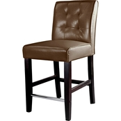 CorLiving Antonio Counter Height Stool in Tufted Bonded Leather