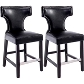 CorLiving Kings Counter Height Bonded Leather Stool with Metal Studs 2 Pk.