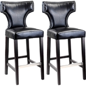 CorLiving Kings Bar Height Bonded Leather Stool with Metal Studs 2 Pk.