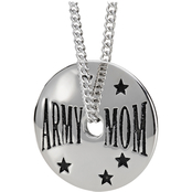 Shields of Strength Women's Stainless Steel Army Mom Necklace, 1 Cor 13:7-8