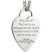 Shields of Strength Women's Stainless Thin Heart Necklace Psalm 28:7
