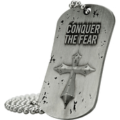 Shields of Strength Conquer the Fear Antique Finish Dog Tag Necklace Joshua 1:9