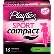Playtex Sport Compact Unscented Super Tampons 18 Ct.