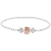 Disney Enchanted 10K Rose Gold Over Sterling Silver 1/7 CTW Diamond Belle Bracelet