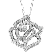 Disney Enchanted Sterling Silver 1/3 CTW Diamond Belle Rose Pendant