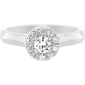 10K White Gold 3/8 CTW Round Center Engagement Ring