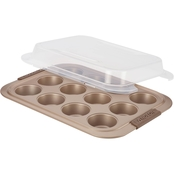 Anolon Advanced Nonstick Bakeware 12 Cup Silicone Grips Covered Muffin Pan