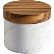 Anolon Pantryware White Marble Salt Cellar with Teak Wood Lid, 5.25 Oz.