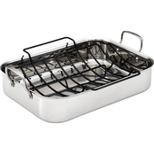 Anolon Tri Ply Clad Stainless Steel Large Rectangular Roaster with Nonstick Rack