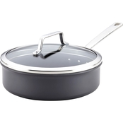 Anolon Authority Hard Anodized Nonstick 3 Quart Covered Saute Pan, Gray