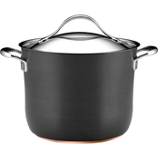 Anolon Nouvelle Copper Nonstick 8 Quart Covered Stockpot, Dark Gray