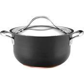 Anolon Nouvelle Copper Nonstick 4 Quart Covered Casserole, Dark Gray