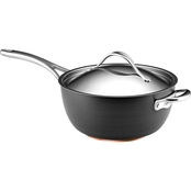 Anolon Nouvelle Copper Hard Anodized Nonstick 5.5 Quart Saucier, Dark Gray