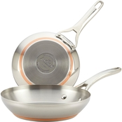 Anolon Nouvelle Copper Stainless Steel Twin Pack 8 & 9.5 In. French Skillets